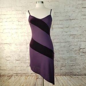 NWT Rampage Bodycon Assymetric Stripe Slip Dress